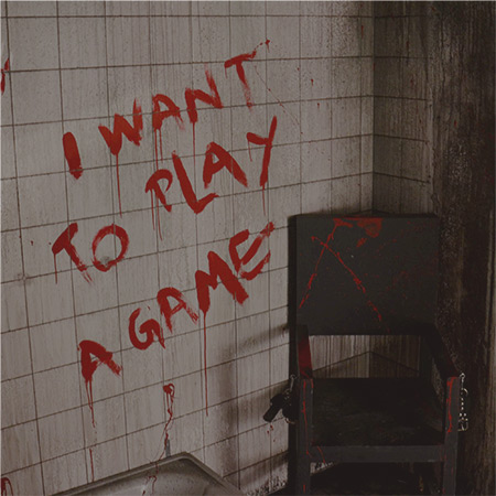 Wall with the incription 'I want to play a game' written with blood