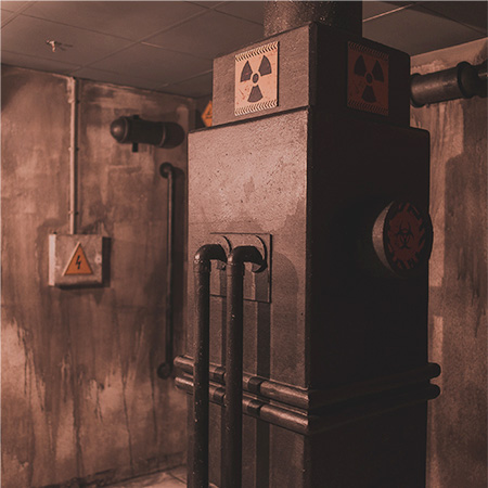 Reactor room with danger signs